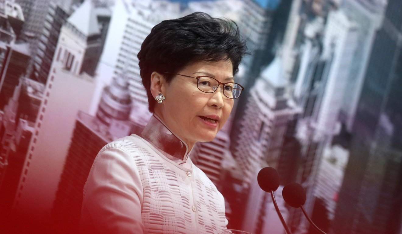 Carrie Lam announces the suspension of the extradition bill on Saturday. Photo: K.Y. Cheng