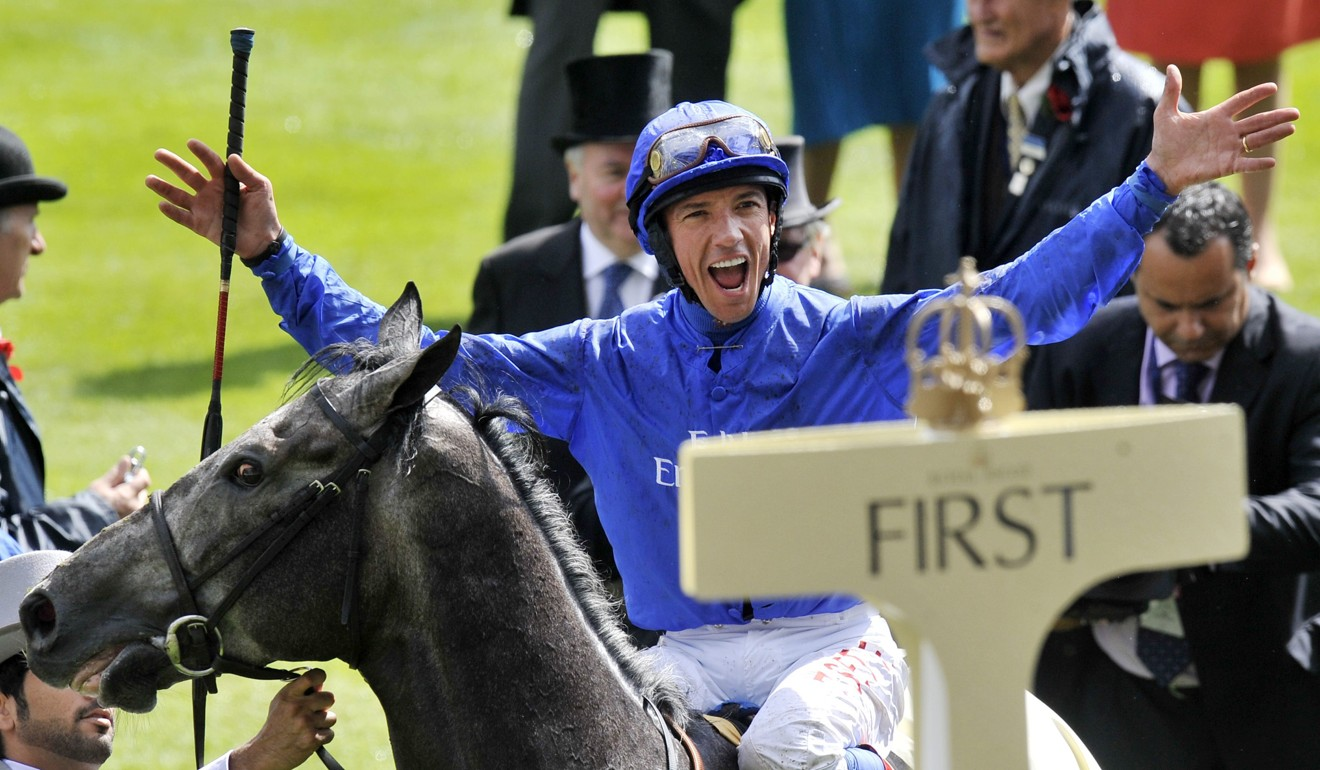 Jockey Frankie Dettori celebrates after winning at Royal Ascot. Photo: EPA/ANDY RAIN