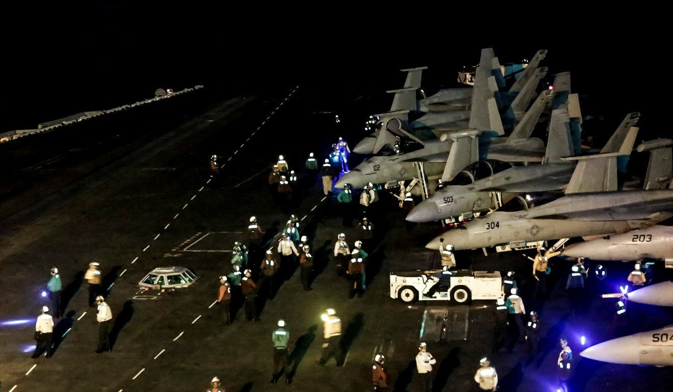 American warplanes on board the USS Abraham Lincoln in the Arabian Sea earlier this month. Photo: Reuters