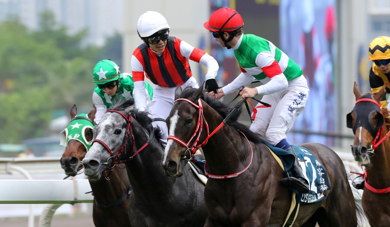 Lys Gracieux (right) finishes behind Win Bright in April's QE II Cup.