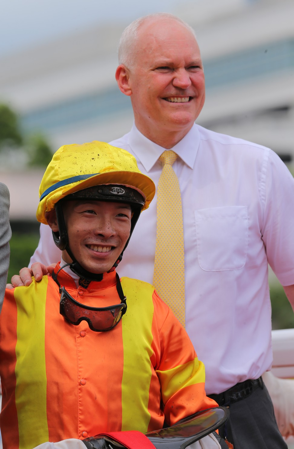Jockey Ben So and trainer Ben So after the win of High Rev.