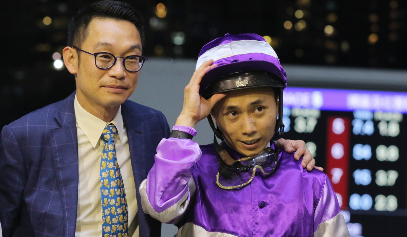 Trainer Jimmy Ting and jockey Matthew Poon after the win of Applause.