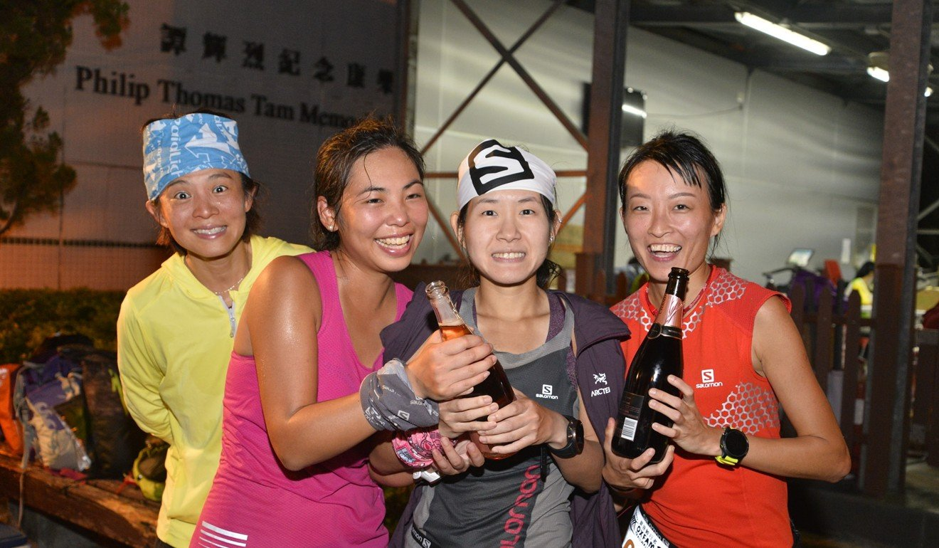 (From left) Karen Tse, Hui Wing-yan, Cheung Chiu-man and Rouisa Tse Wing-yan the female winners of the 2018 Oxfam Trailwalker. Photo: Salomon Hong Kong