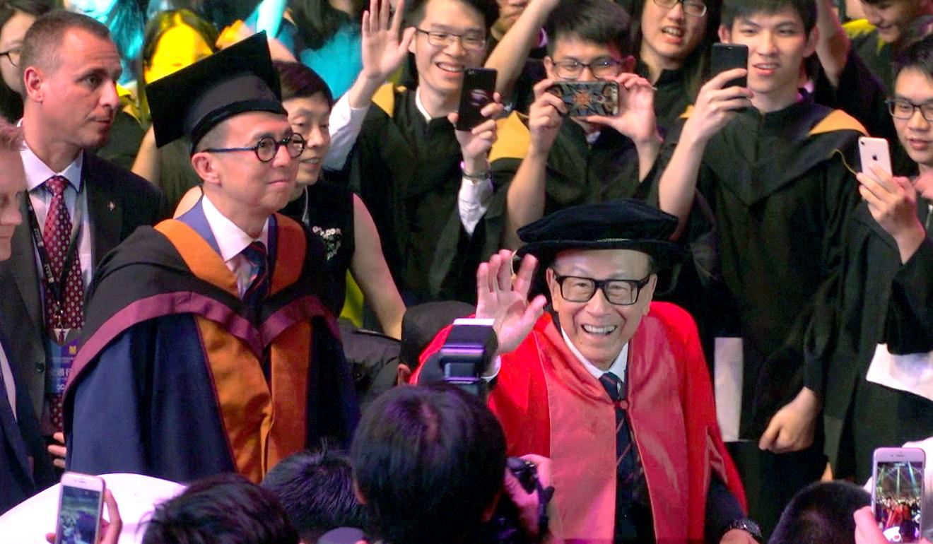 Richard Li and his father Li Ka-shing attend the Shantou University graduation ceremony in 2018. Photo: Thomas Yau