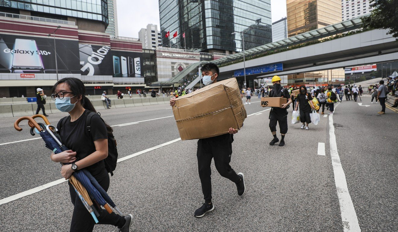Cardboard boxes of protective gear are used to support protesters in their bid to force the full withdrawal of the extradition bill. Photo: Sam Tsang