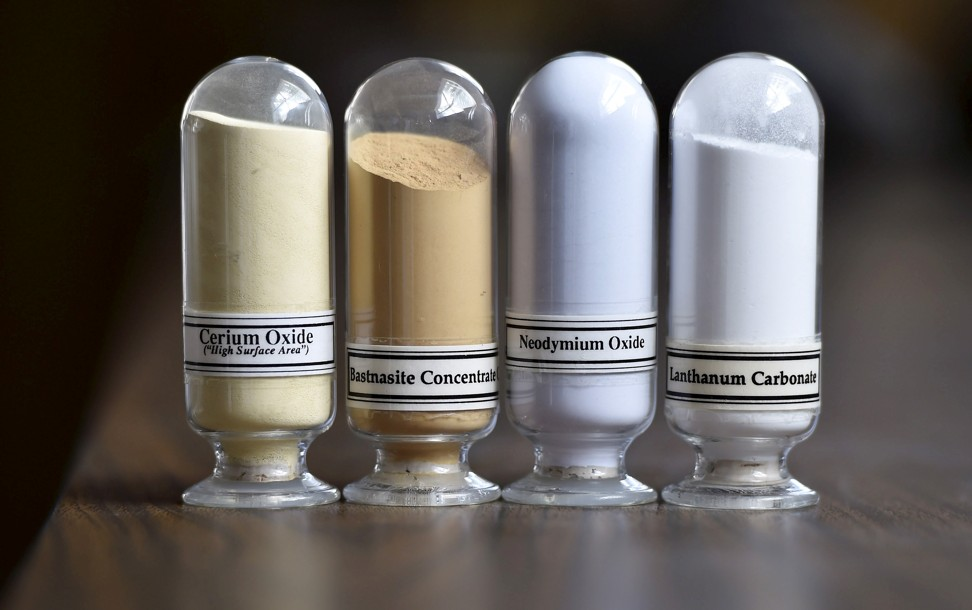 From left, samples of cerium oxide, bastnaesite concentrates, neodymium oxide and lanthanum carbonate at the Mountain Pass rare earths mine in California. Photo: Reuters