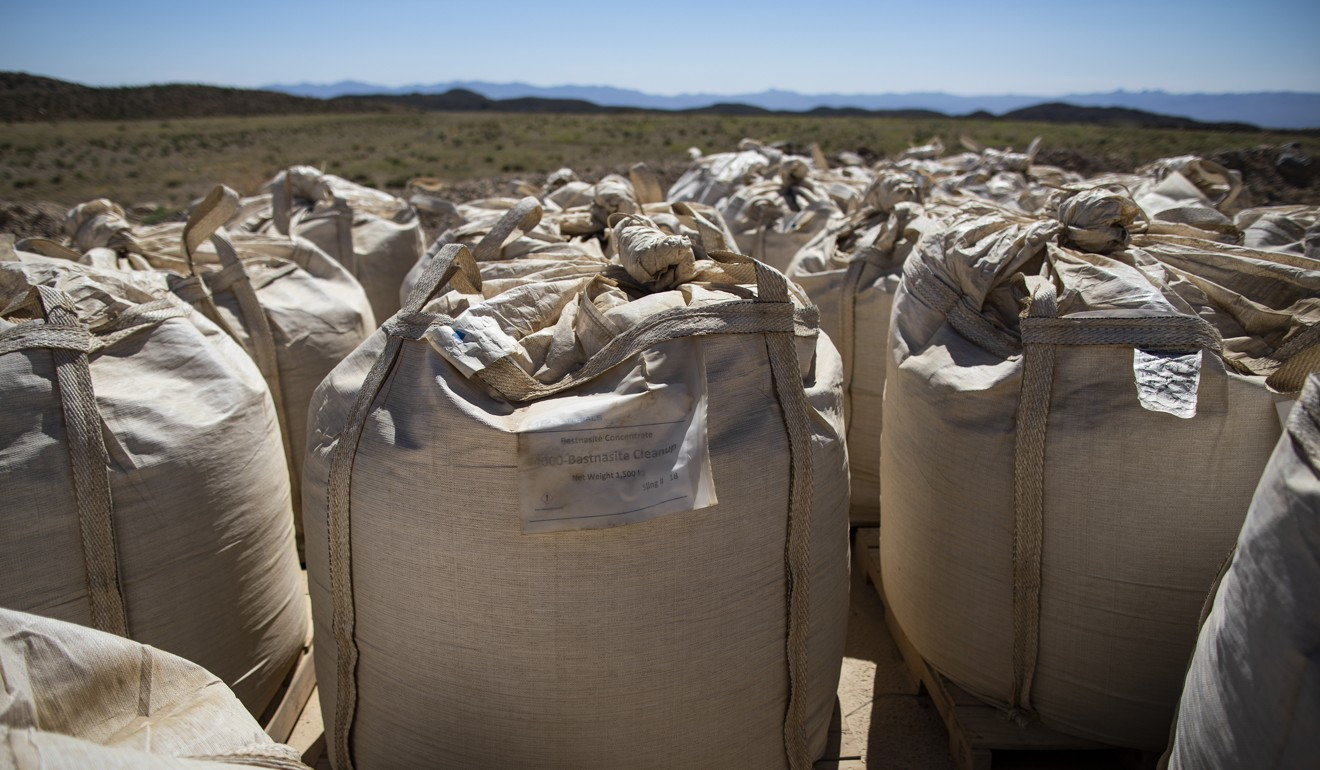 Bags of rare earth concentrates sit for transport at the Mountain Pass mine in California. Photo: Bloomberg