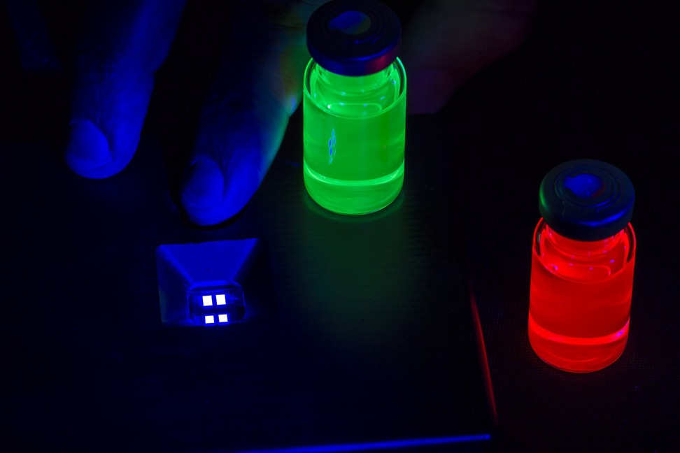 Nanosys's blue, red and green quantum dots. Photo: Handout