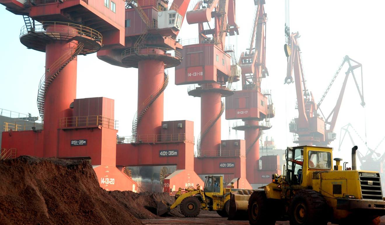 Soil containing rare earths at a port in China's Jiangsu province. Photo: Reuters