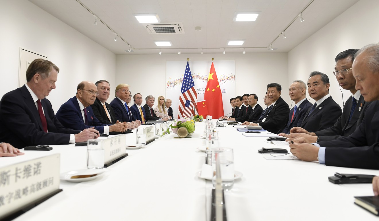 Xi Jinping, Donald Trump and their teams met for 80 minutes in Osaka. Photo: AP