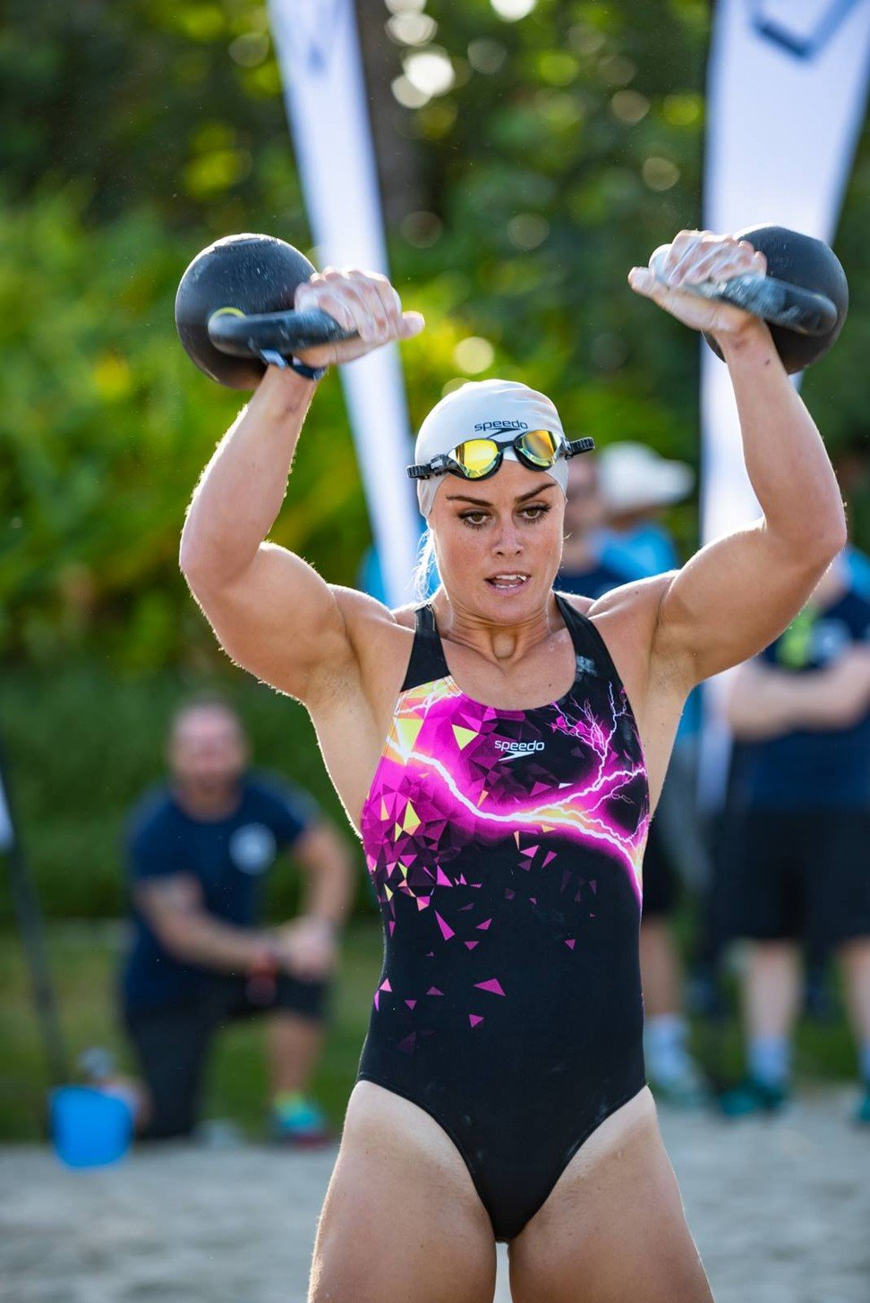 Sara Sigmundsdottir competes during the 'Baywatch' event at the Dubai CrossFit Sanctionals. Photo: CrossFit