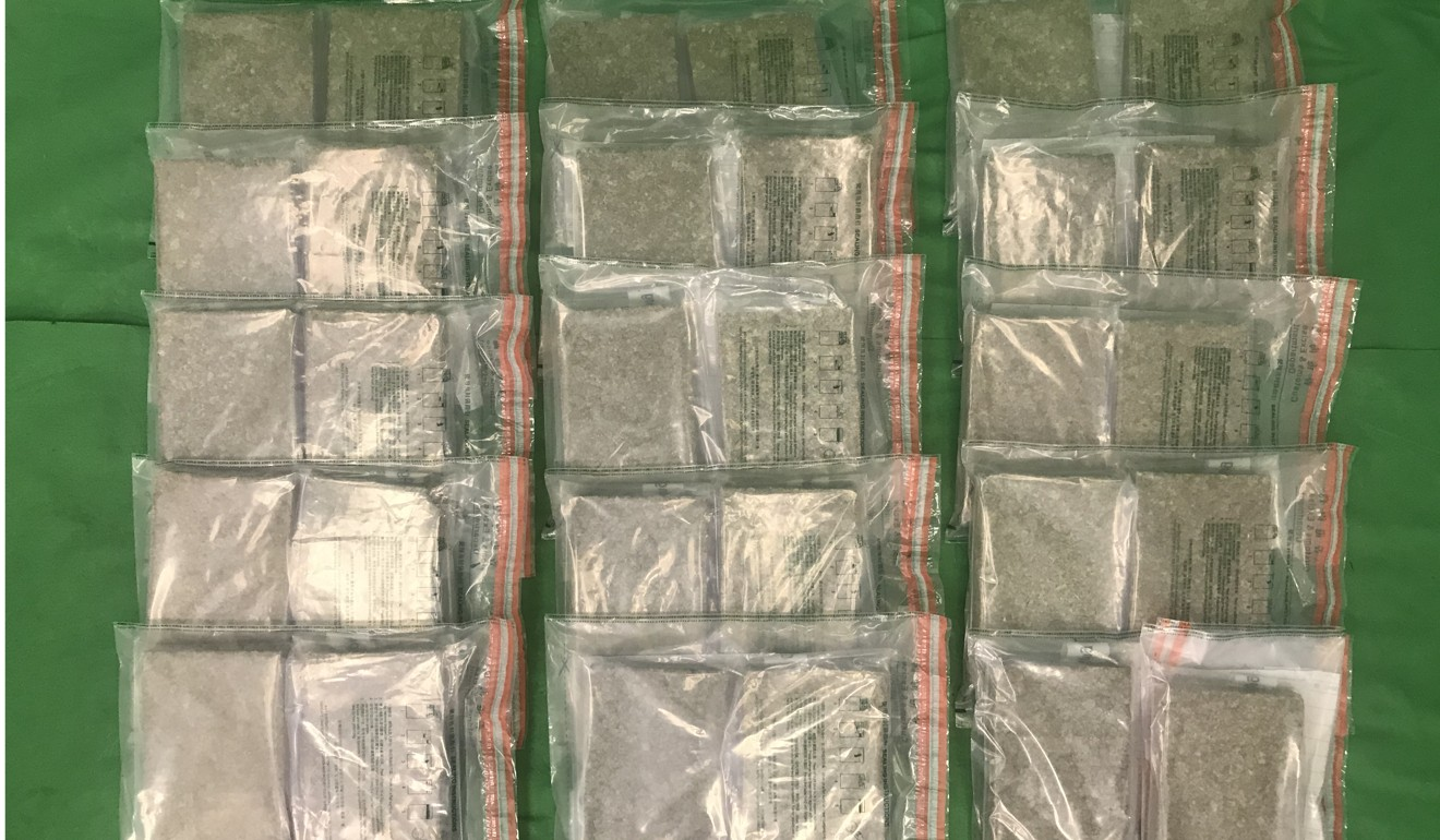 Hong Kong's Customs and Excise Department seized about 30kg of cannabis buds with an estimated market value of about $6.2 million at Hong Kong International Airport. Photo: Handout