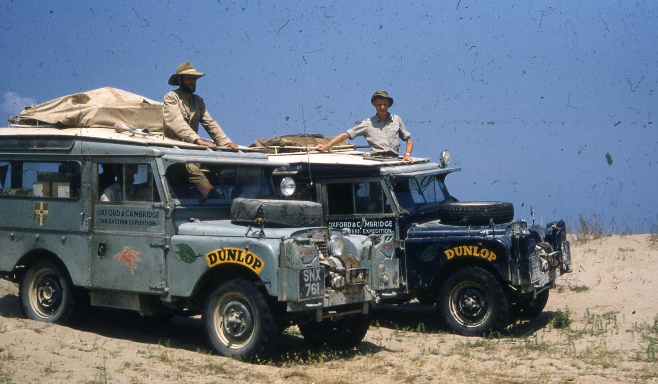 The original 1955 expedition, with the two Land Rovers named Cambridge and Oxford. Photo: Anthony Barrington-Brown / The First Overland