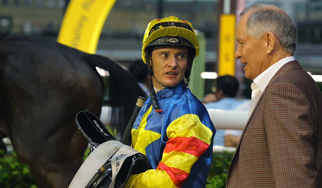 Jockey Zac Purton and trainer John Moore discuss the win of Smart Rocket at Happy Valley on Wednesday night.