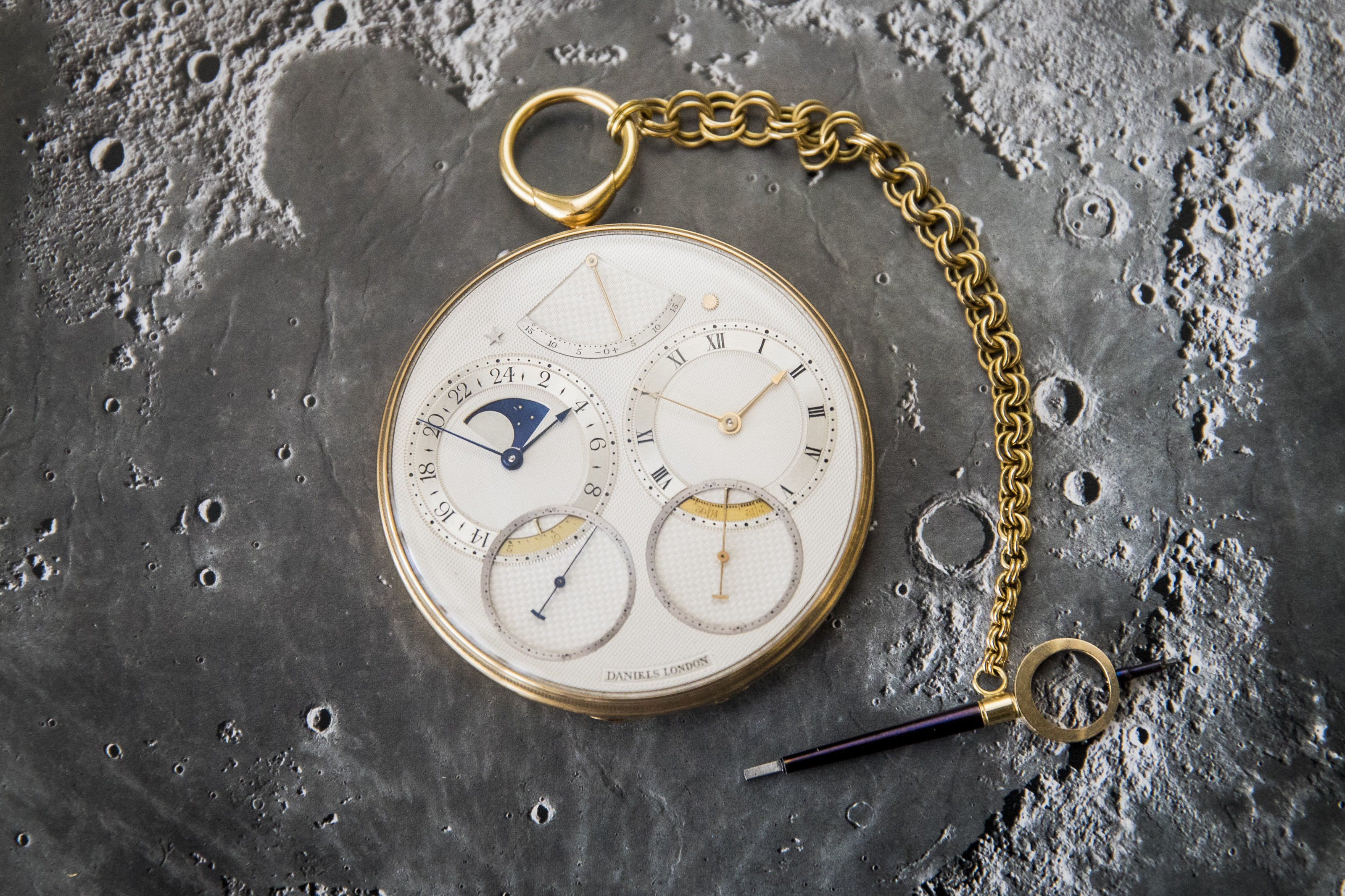 72be2cc00f George Daniels Space Traveller 1 pocket watch, inspired by the Apollo 11  moon landing, fetches a record US$4.6 million at auction | South China  Morning Post