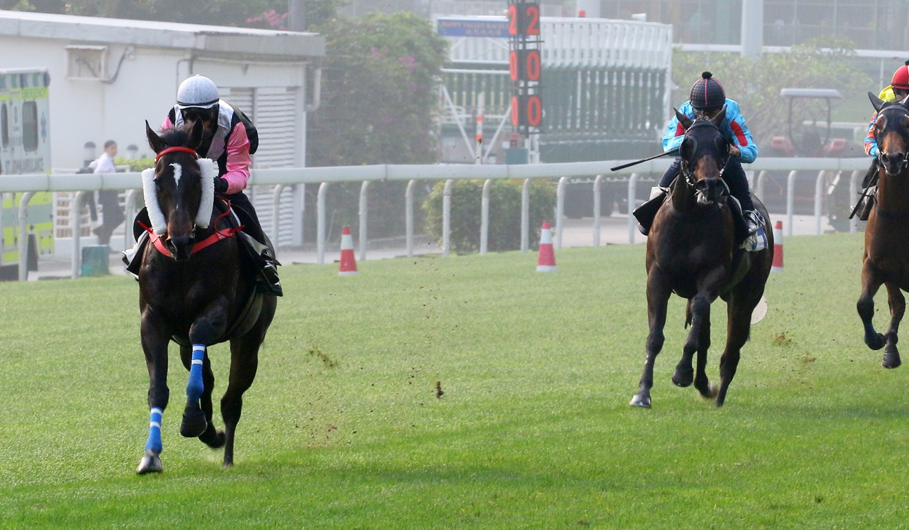 Beauty Spark easily goes past his rivals in a barrier trial at Happy Valley in April.