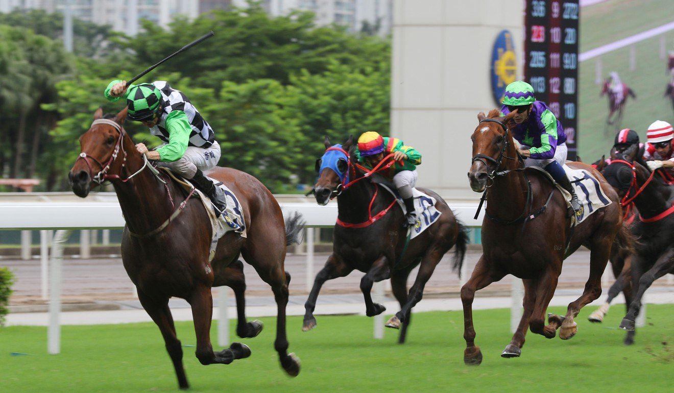 Zac Purton kicks clear on Magic Success at Sha Tin on Sunday.