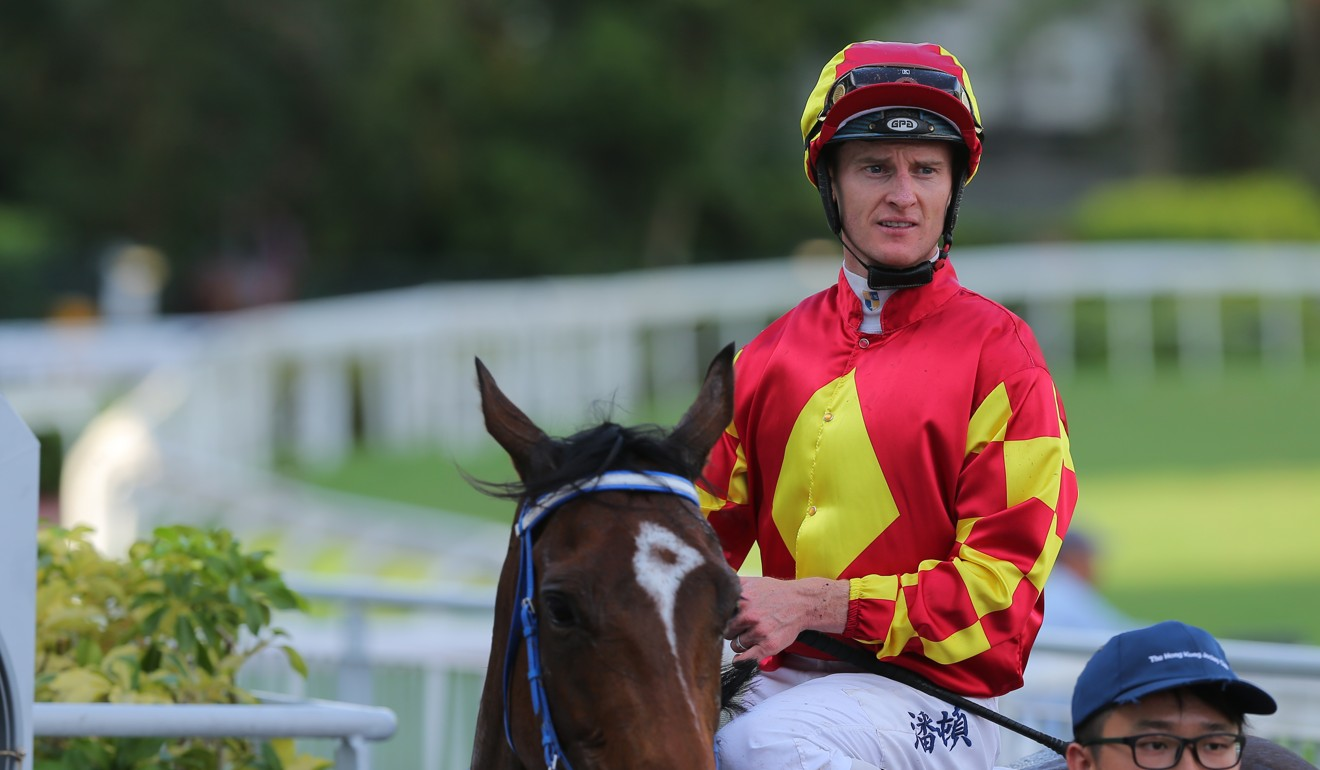 Zac Purton after riding Winning Delight to victory at Sha Tin for trainer Caspar Fownes.