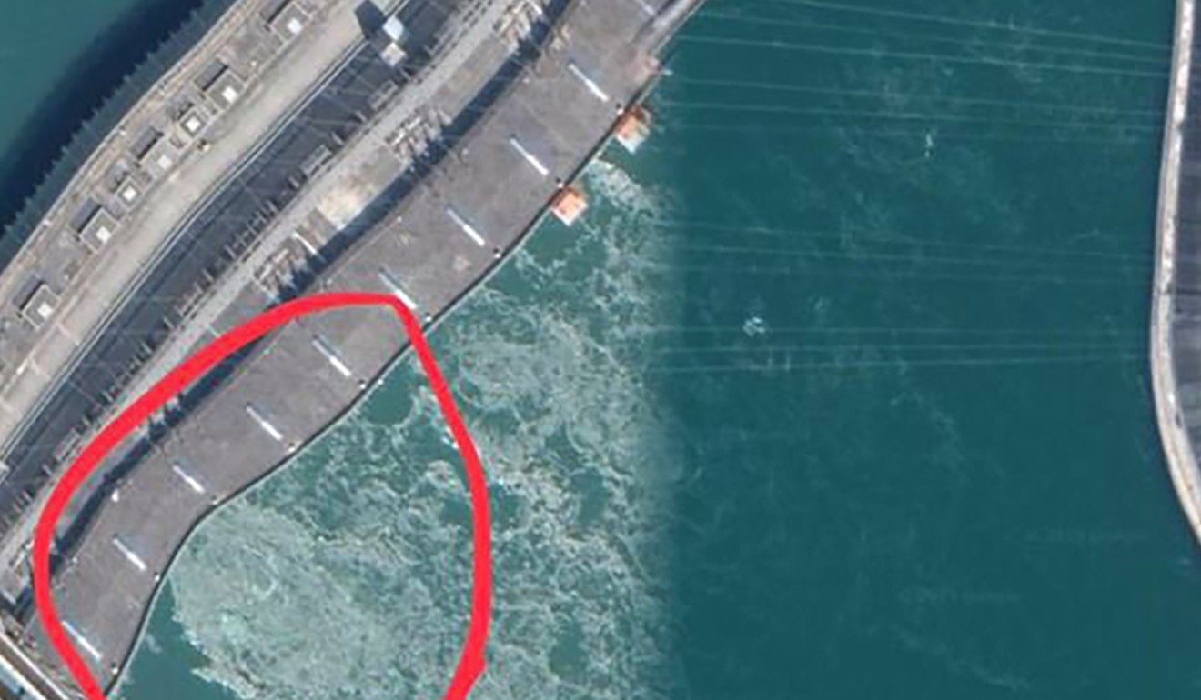 One of the images which sparked rumours about the safety of the Three Gorges Dam. Photo: Google Maps
