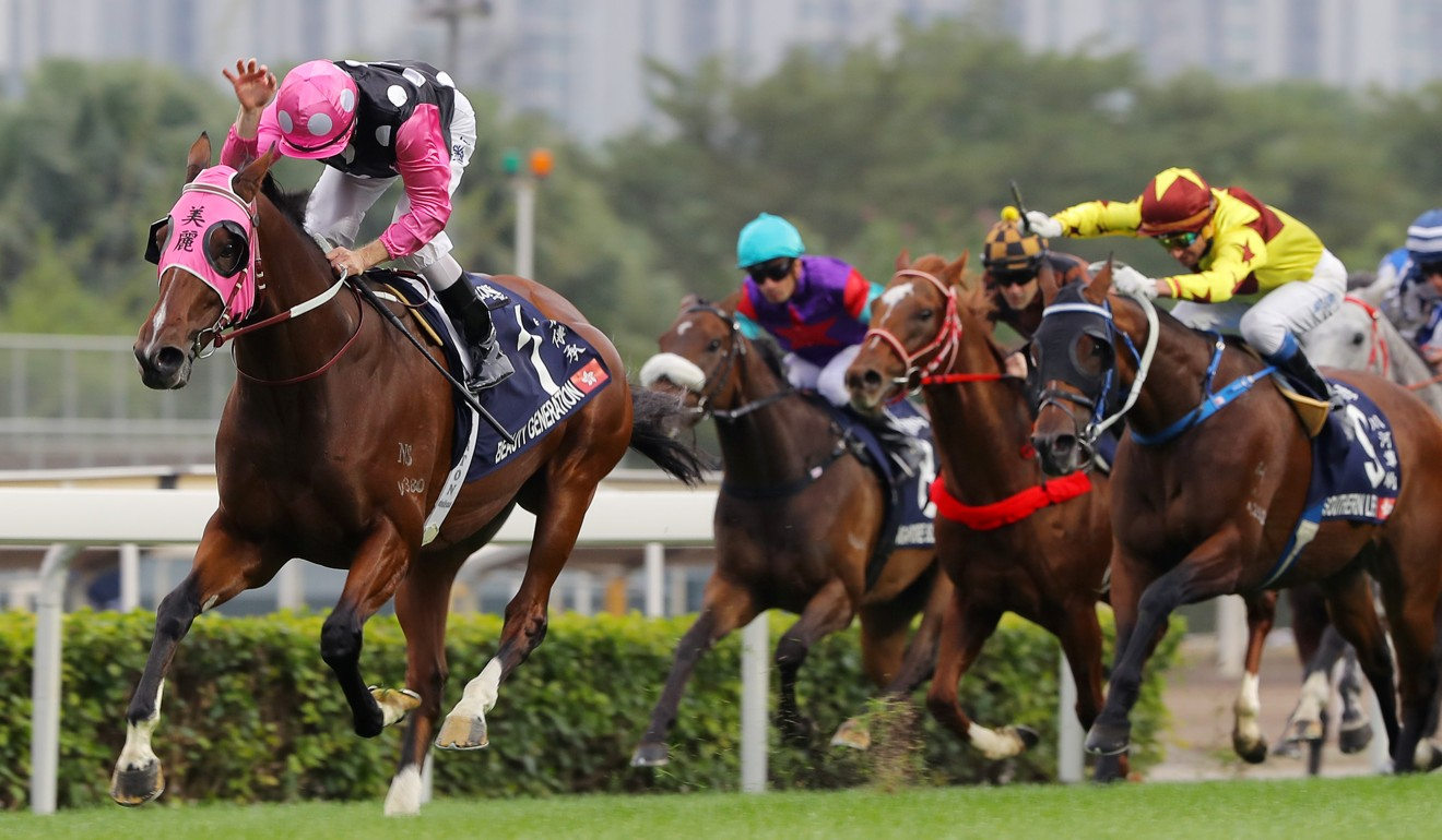 Zac Purton gives Beauty Generation a pat as he wins the Hong Kong Mile.