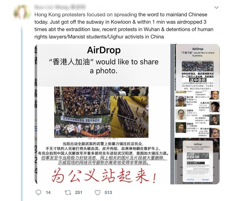 AirDrop, Hong Kong Airdrop, Hong Kong protests airdrop