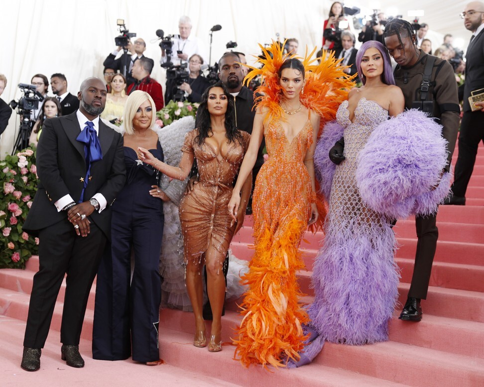 Billionaire Kylie Jenner (second from right), beside her boyfriend Travis Scott and (from left) Corey Gamble, Kris Jenner, Kim Kardashian West, Kanye West and Kendall Jenner at May's Met Gala charity event in New York. Photo: EPA-EFE