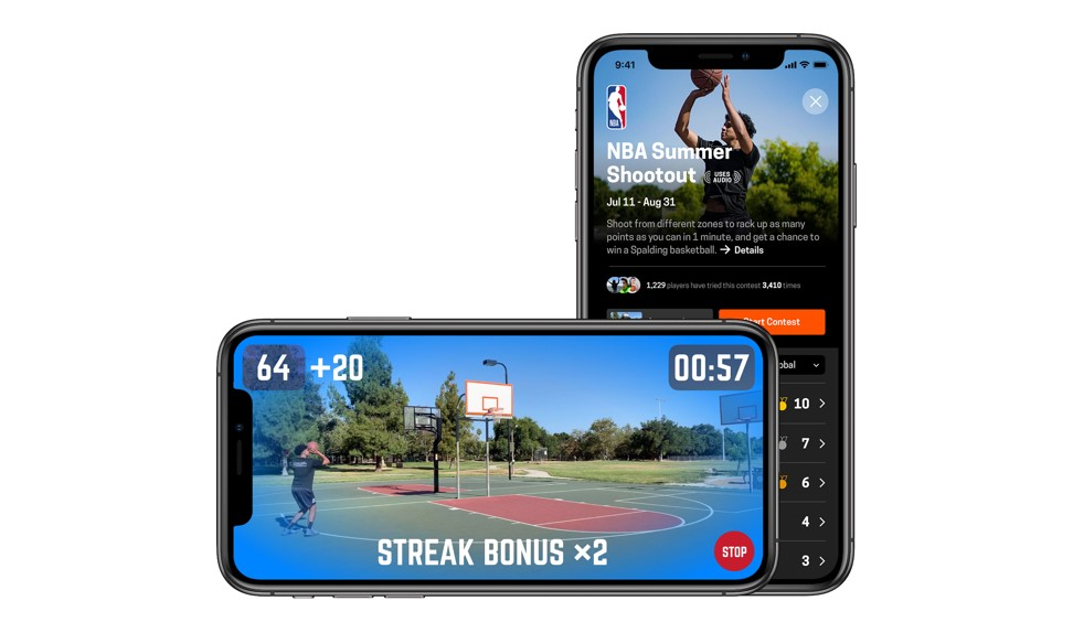 A composite image of smartphones that display the HomeCourt app used in an NBA-themed shooting competition. Photo: Handout