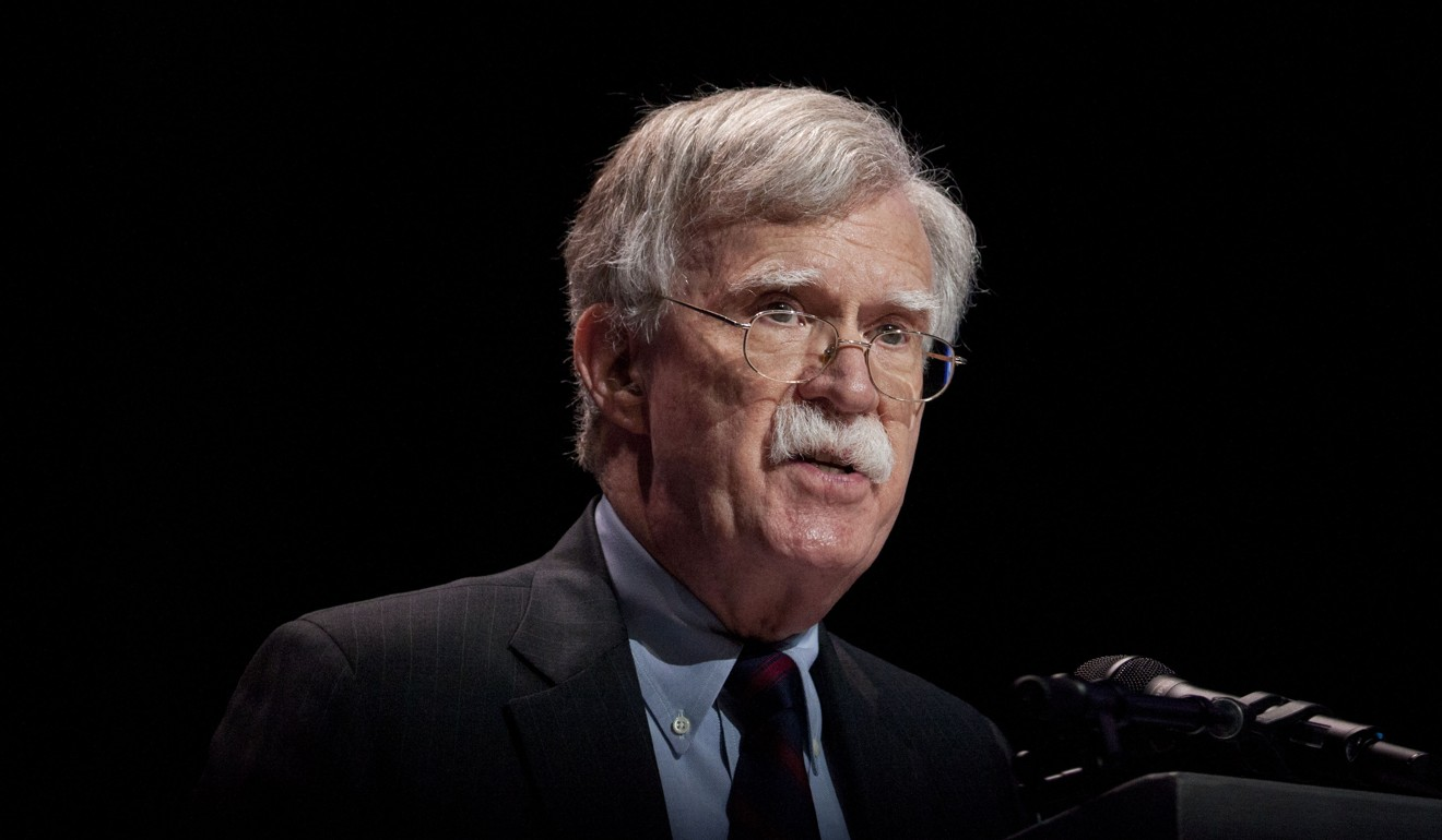 US national security adviser John Bolton speaks at a summit in Washington on Monday. Photo: Bloomberg