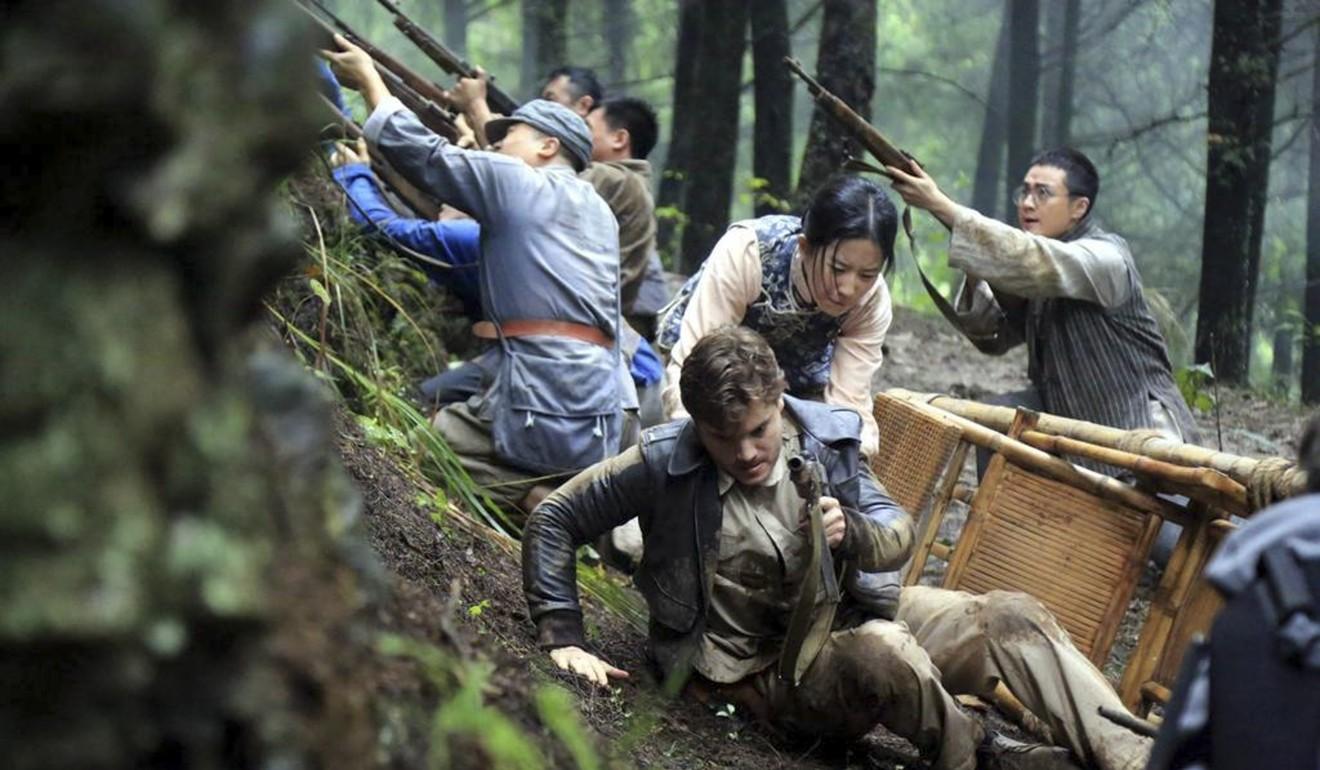 Liu appears alongside Emile Hirsch in a scene from The Chinese Widow. Photo: Handout