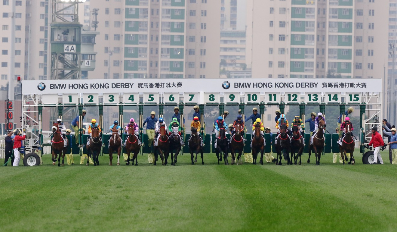 Horses jump in the Hong Kong Derby.