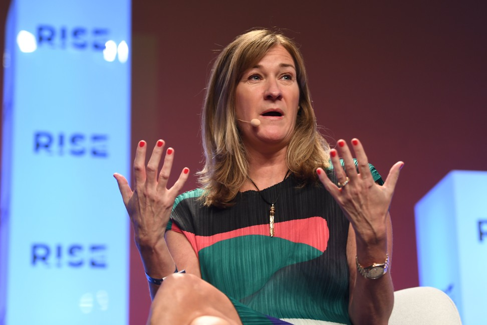 Ann Hand, the CEO and chairwoman of Nasdaq-listed Super League, speaks at the Rise Conference in Hong Kong. Photo: Handout