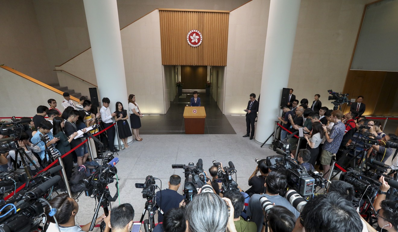 Chief Executive Carrie Lam Cheng Yuet-ngor announces the extradition bill is 'dead'. Photo: Felix Wong