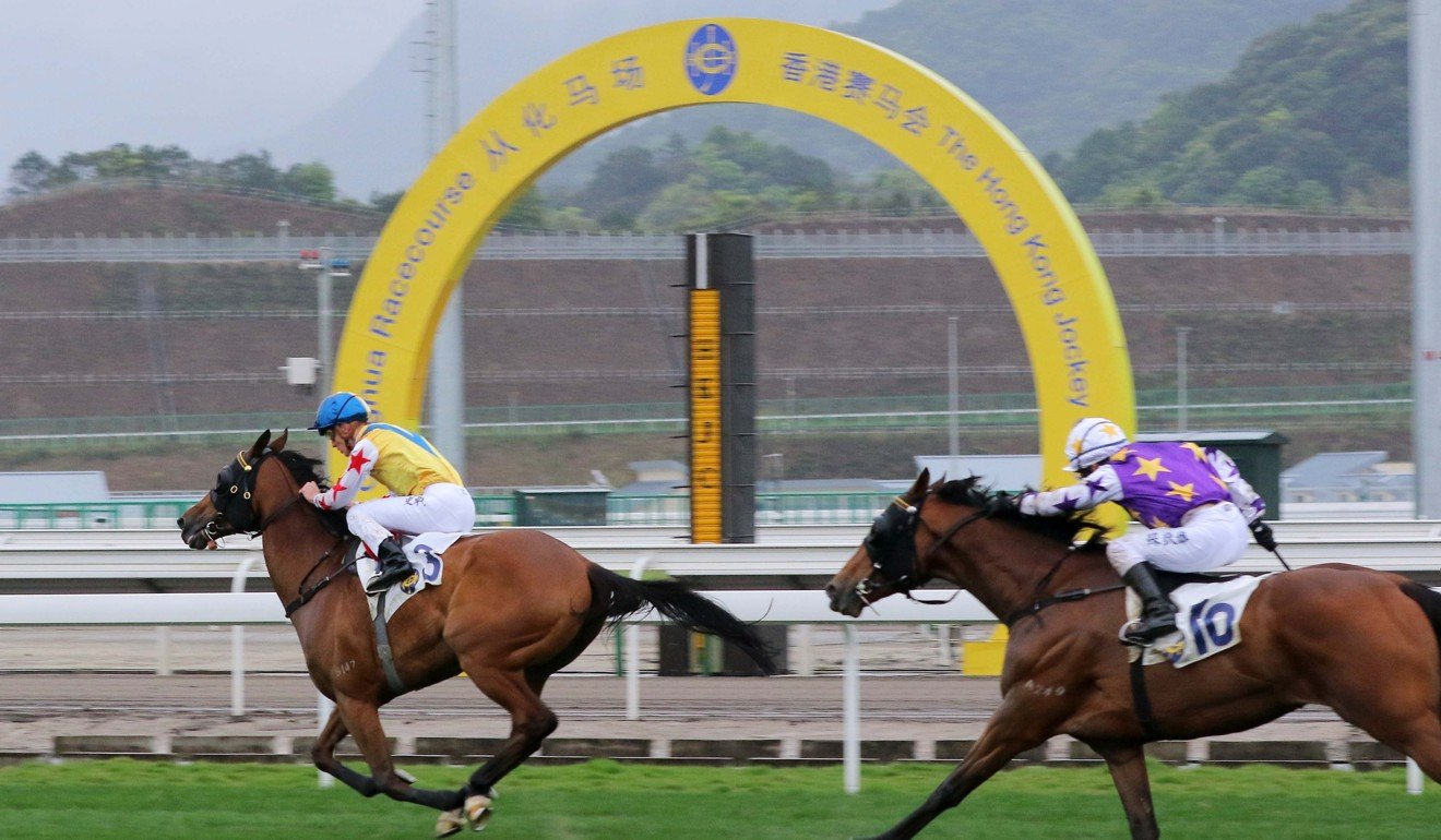 Happy Rocky wins during the first official meeting at Conghua Racecourse.