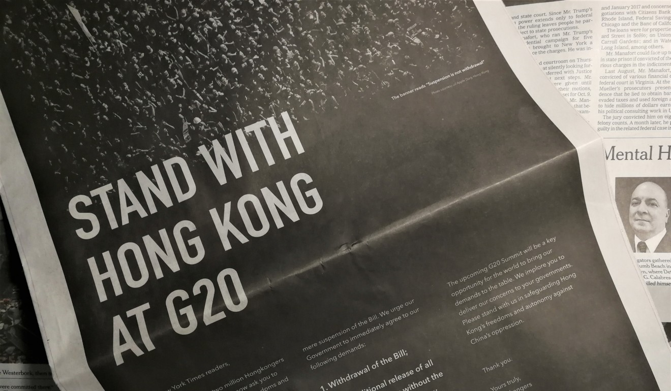 An ad placed in international newspapers asking readers to urge governments at last month's G20 summit to support Hong Kong protests against a proposed extradition bill. Images of the crowdfunded advert appeared to be on WeChat's blacklist. Photo: Owen Churchill