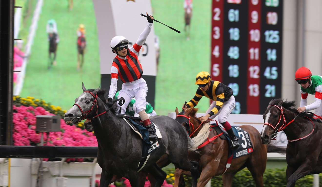 Masami Matsuoka wins the Group One QEII Cup (2,000m) at Sha Tin.