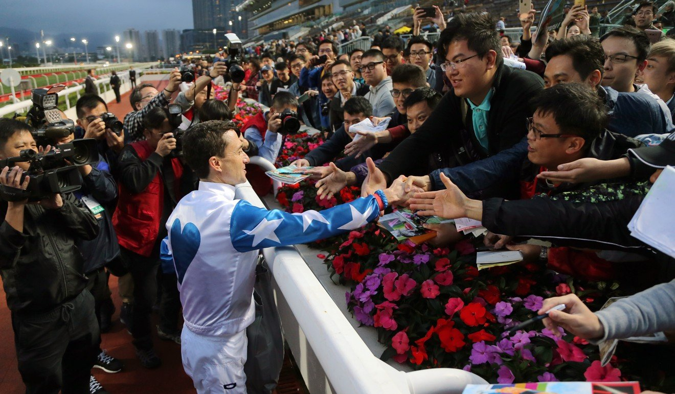 Jockey Douglas Whyte bids farewell to fans.