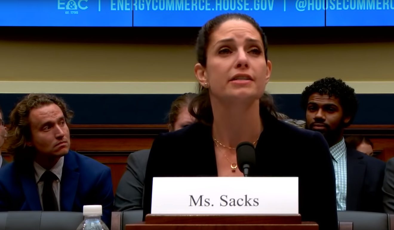 "Samm Sacks, shown at a 2018 Congressional hearing: ""Access to the most data in and of itself is not the most important factor in AI development."" Photo: YouTube"