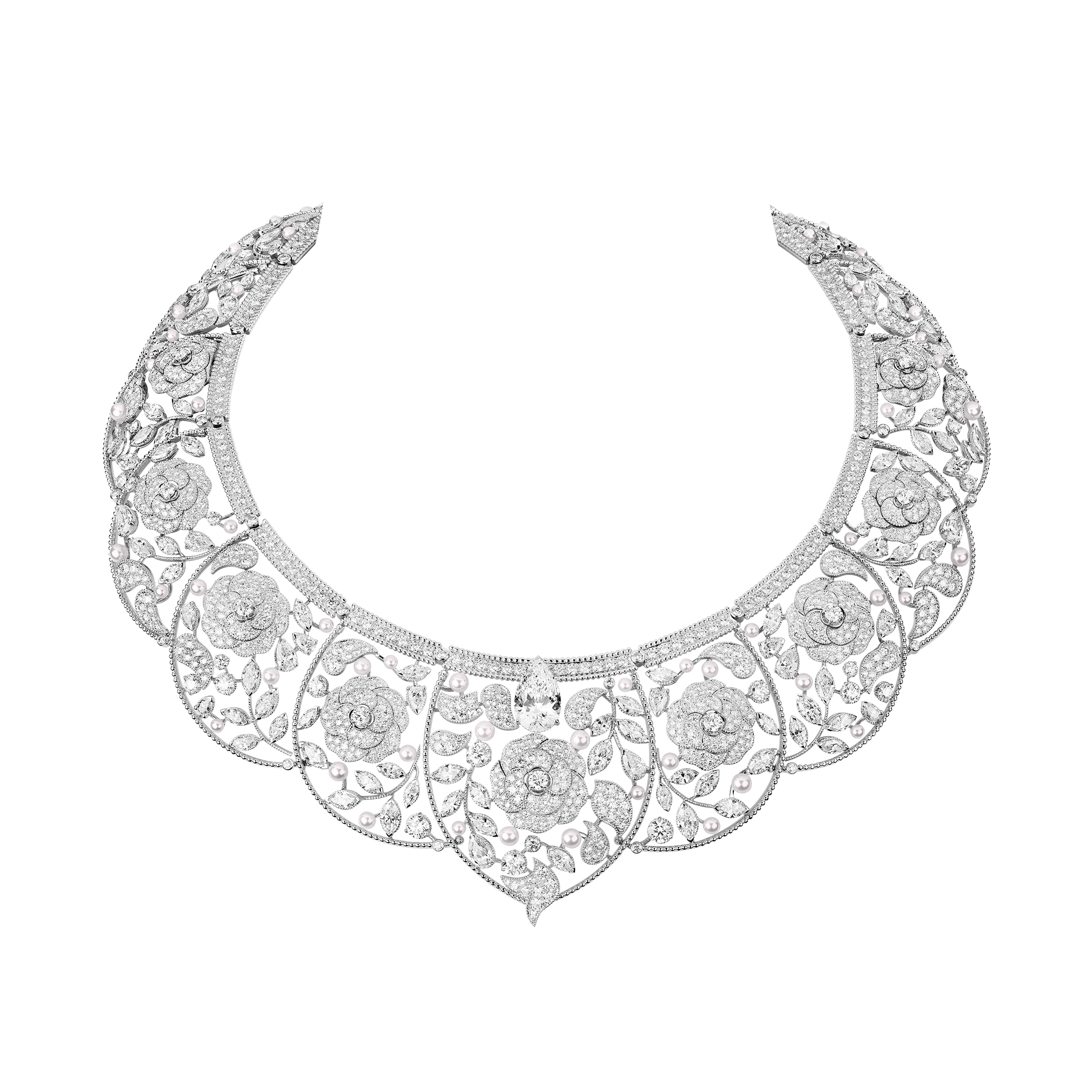 e473272c7 Chanel's Sarafane headpiece necklace in white gold, cultured pearls and  diamonds