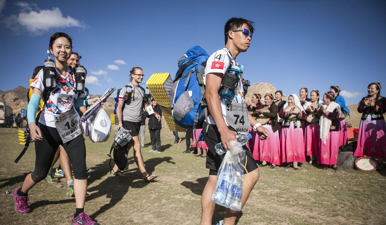 Agnes Cheng Ming-wai (left), with Edwin Li at the start of Gobi March 2015. Photo: Racing the Planet