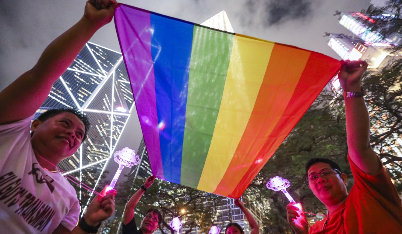 LGBT supporters in Hong Kong celebrate as Taiwan's legislature voted in May to legalise same-sex marriage, but campaigners say Carrie Lam's government has been too slow to implement gay rights reforms in the legal system. Photo: Dickson Lee