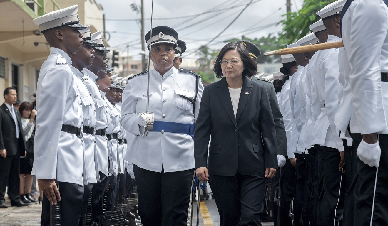 """Taiwanese President Tsai Ing-wen, pictured in St Lucia on Thursday, said she would follow """"humanitarian principles"""" in dealing with the cases. Photo: AP"""