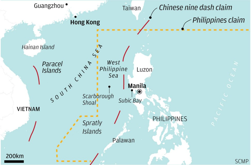 The overlapping claims of China and the Philippines in the South China Sea Graphic SCMP
