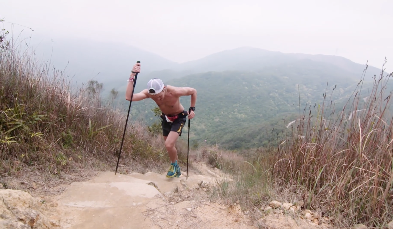 John Ellis, one of the best runners in Hong Kong, power hiking up one of Hong Kong's steep staircases. Photo: Nine Dragons