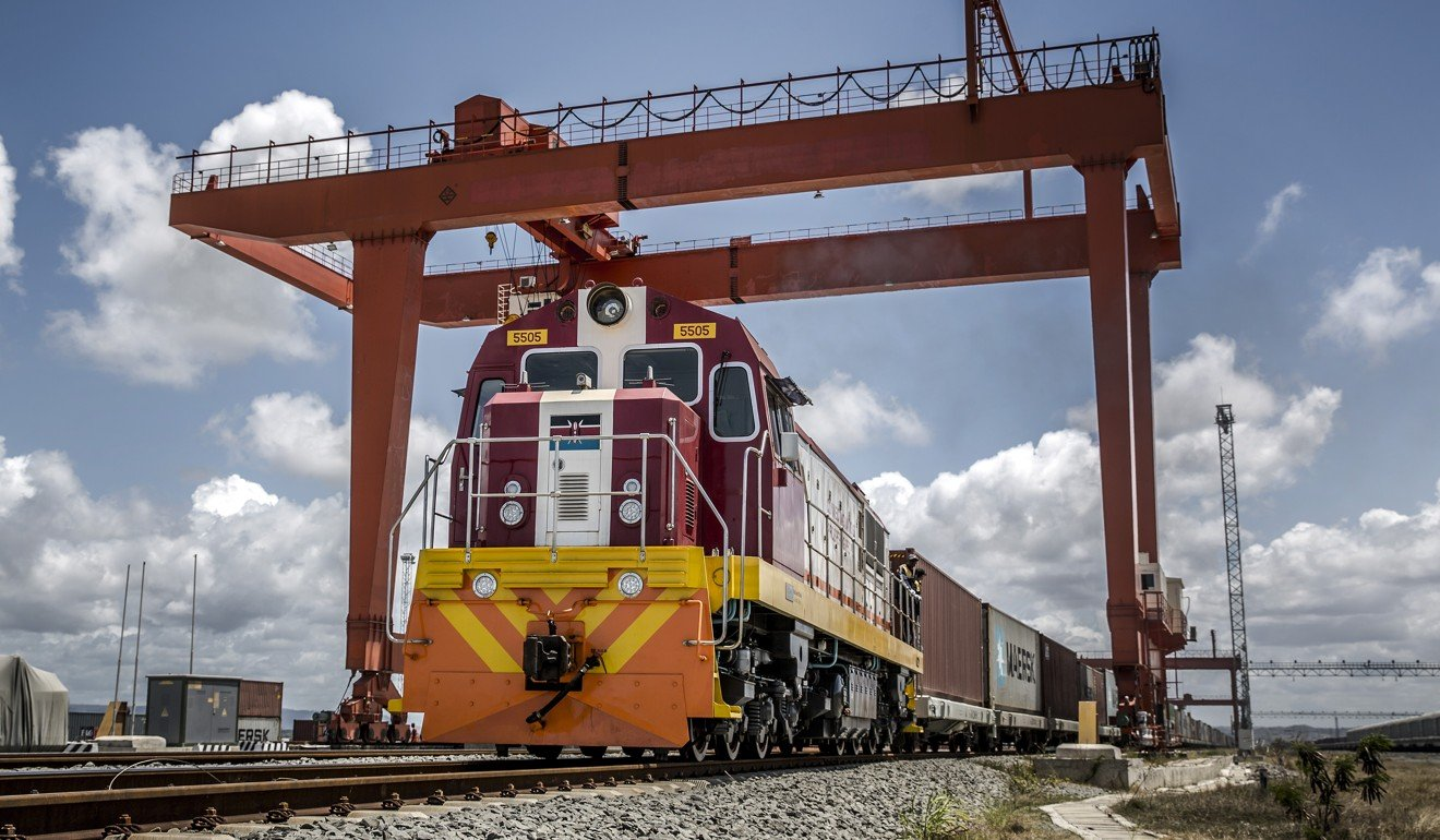 A Kenya Railways freight train leaves the port station on the Mombasa-Nairobi railway in Mombasa, Kenya, a huge project backed by China. Photo: Bloomberg