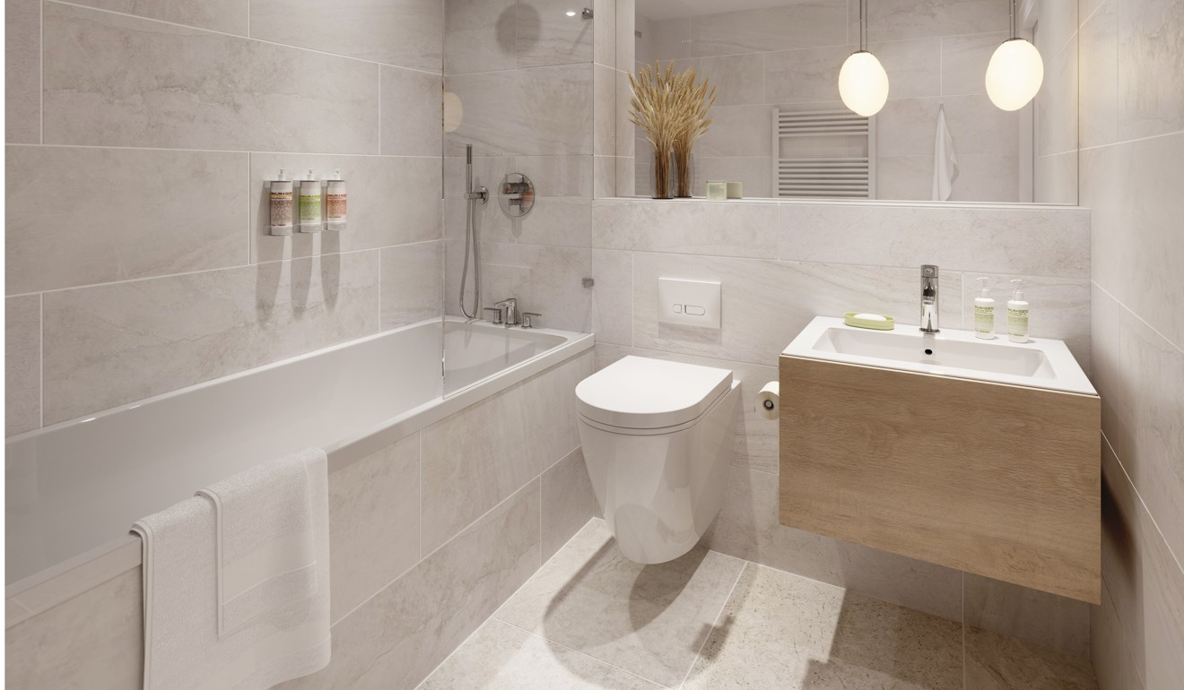 SPECTRUM LONDON - The bathroom in a 364-square foot one-bedroom unit in Spectrum, a project in Manchester marketed by Dot Residential