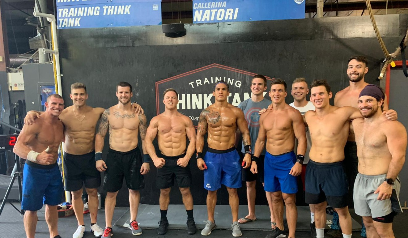 Ant Haynes in Atlanta training with other CrossFit athletes and his brother Ed (both in blue shorts in middle) at Training Think Tank. Photo: Ant Haynes