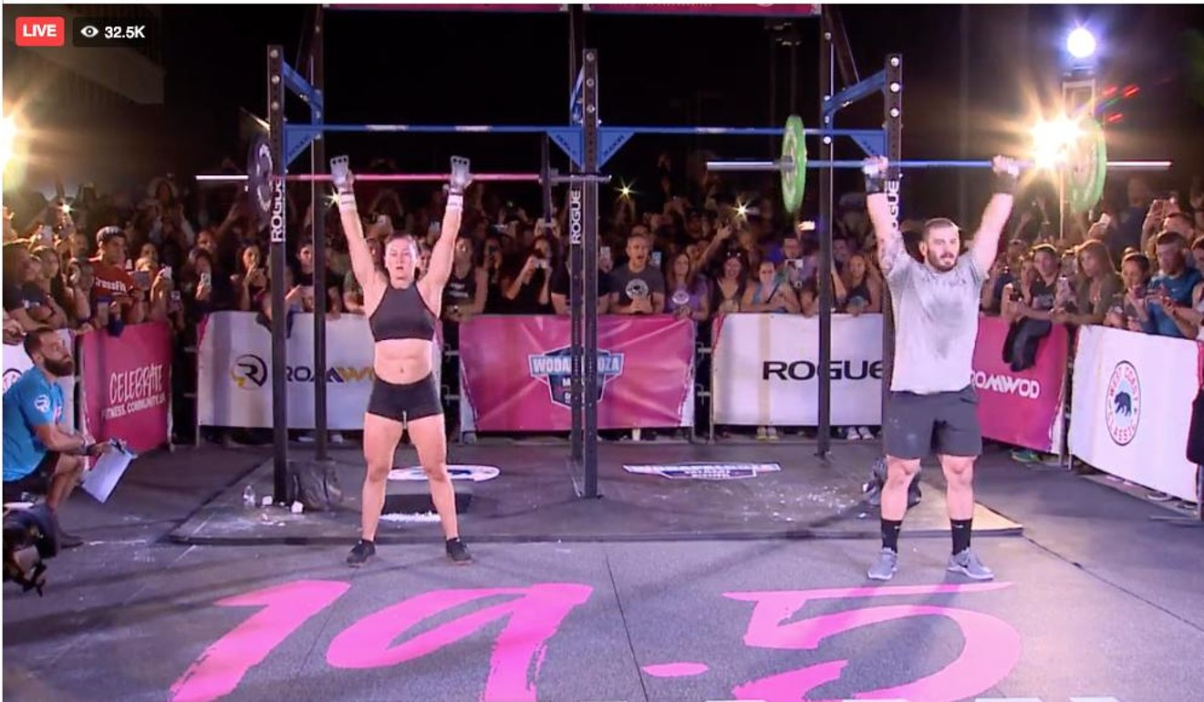 Tia-Clair Toomey and Mat Fraser compete against each other in Miami. Photo: CrossFit