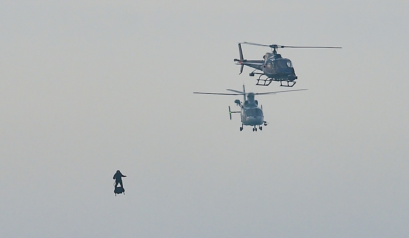 Zapata was escorted by helicopters during his cross-Channel attempt. Photo: AFP