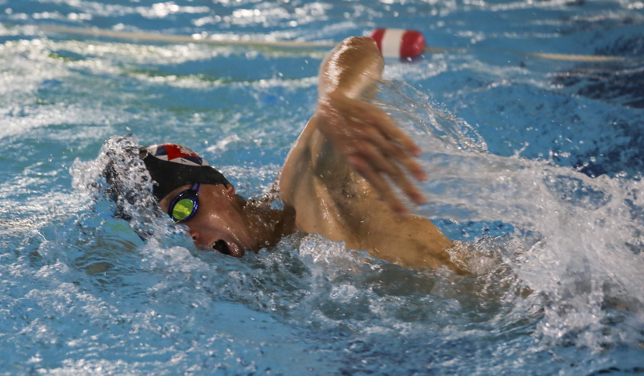 Coggins training in the pool at the South China Athletic Association. Photo: Xiaomei Chen
