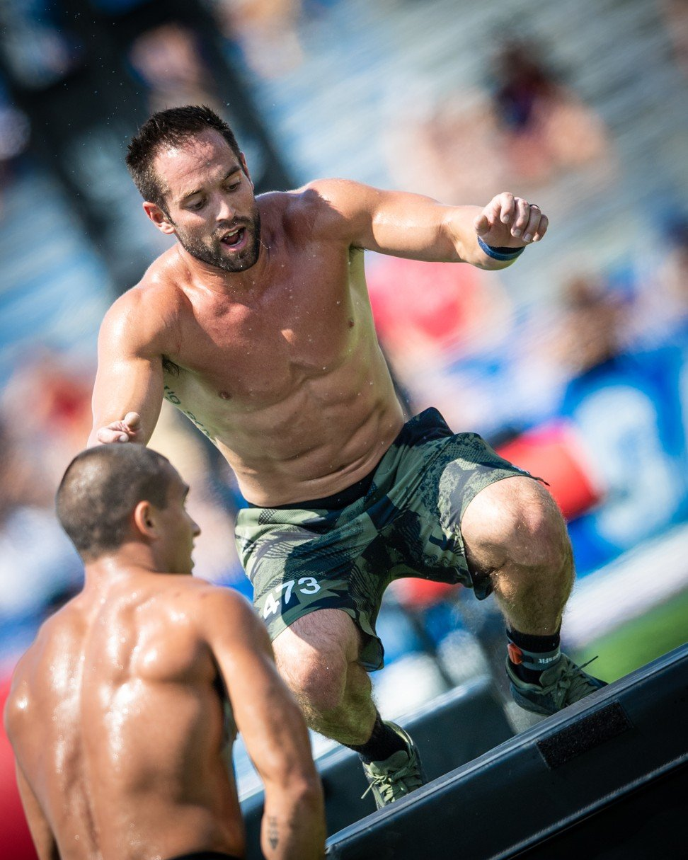 Rich Froning doing the box jump at the CrossFit Games. Photo: Michael Valentin